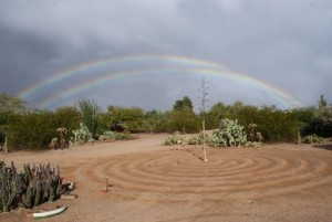 Rainbow seen from the Labyrinth at the museum, July 5, 2015