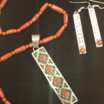 2016-2017 Season fundraising raffle prize - exquisite coral and silver necklace and earring set handmade by renowned Native American master silversmith Tommy Jackson.