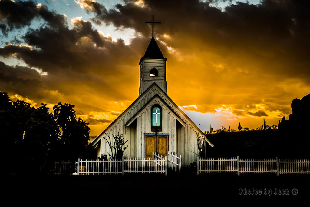 Elvis Memorial Chapel - during a golden sunset (Photo by Jack Olson)