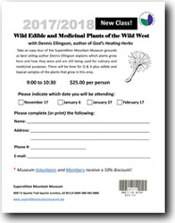 2017/2018 Wild Edible and Medicinal Plants of the Wild West Class Registration Form (.pdf, 416kb)