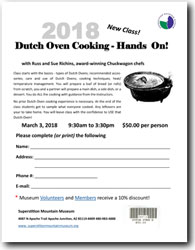 2018 Dutch Oven Cooking - Hands On! Class Registration Form (.pdf, 539kb)
