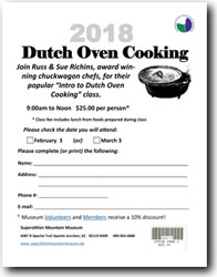 2018 Dutch Oven Cooking Class Registration Form (.pdf, 502kb)
