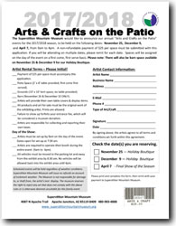 2017/2018 Arts & Crafts on the Patio Vendor Application Form (.pdf, 354kb)