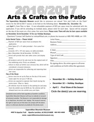 2016/2017 Vendor Application Form - Arts & Crafts on the Patio (.pdf, 421kb)