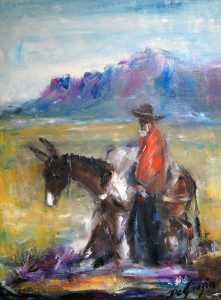 Ted DeGrazia's Prospector and Burro with Superstition Mountains