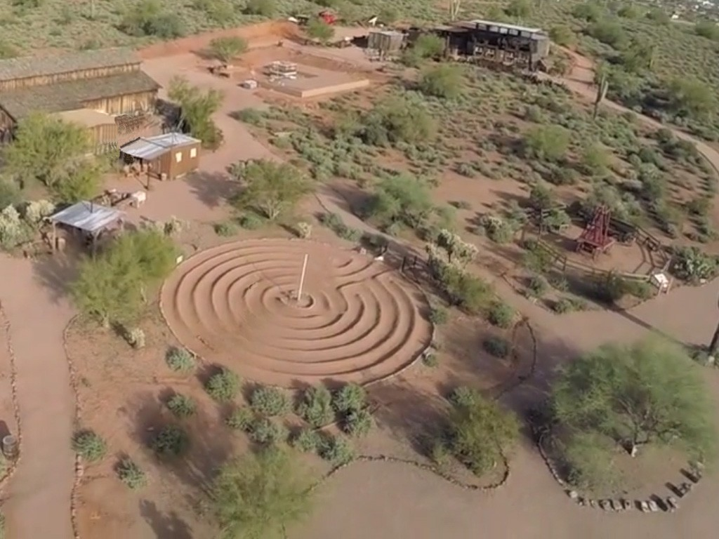 Aerial View of Museum Grounds, Labyrinth at Center
