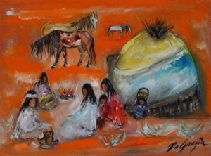 Apache Camp - Large oil on canvas painted by DeGrazia in 1976.