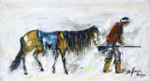 Lost Apache – Oil on canvas by Ted DeGrazia, painted in 1965