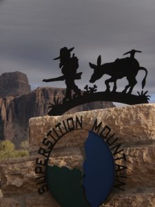 Lost Dutchman and his pack mule cutout sign at the Superstition Mountain - Lost Dutchman Museum