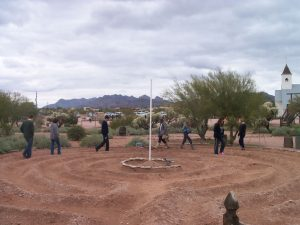 Visitors walking the Labyrinth - at the Superstition Mountain - Lost Dutchman Museum, Apache Junction, Arizona