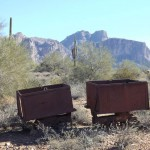 Nature Walk at Superstition Mountain - Lost Dutchman Museum - Old Ore Carts Beside the Trail