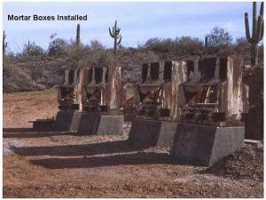 Mortar Boxes Installed at the Superstition Mountain Museum Site in Apache Junction, Arizona